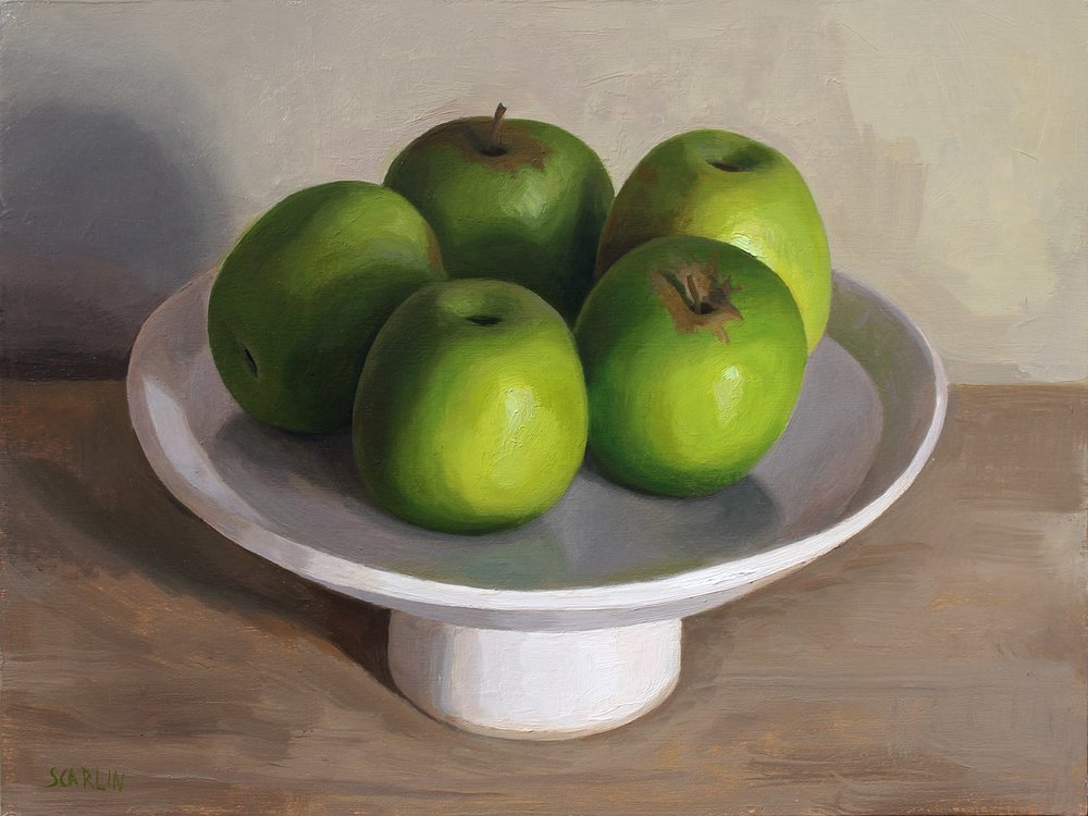 Apples on a White Dish