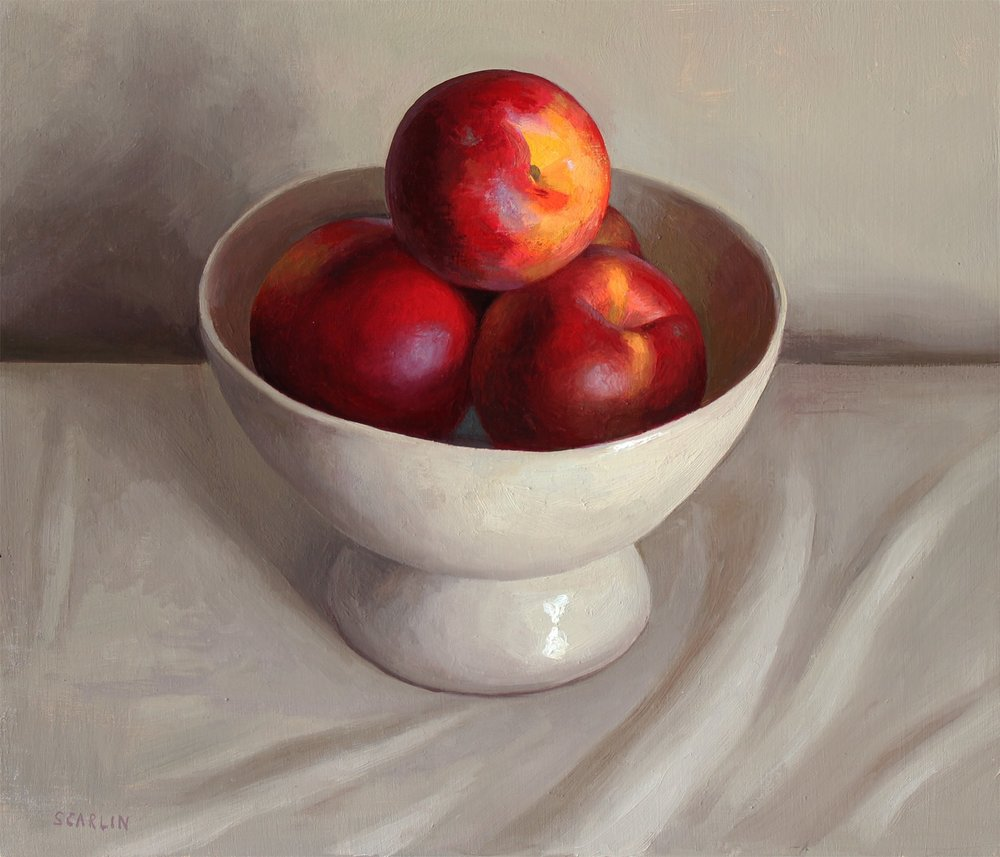 Nectarines in a White Bowl