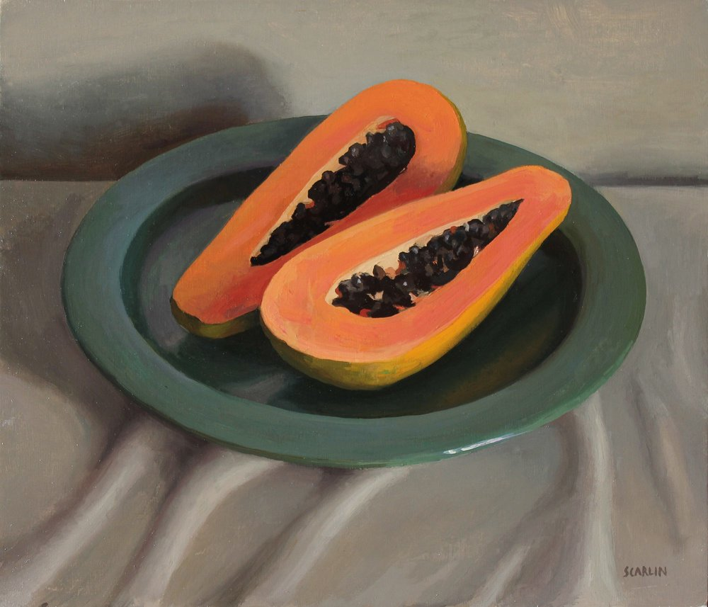Papaya on a Green Plate