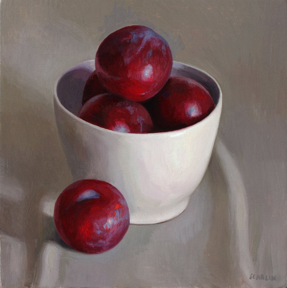Plums in a White Bowl