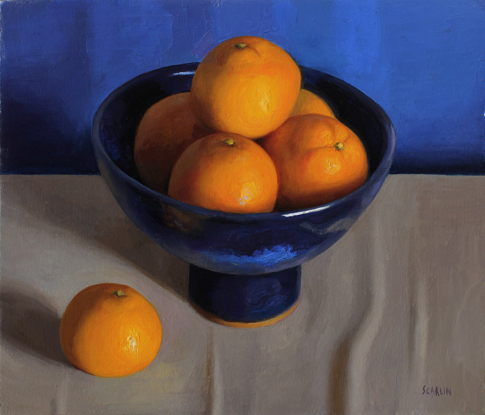 Satsumas in a Blue Bowl