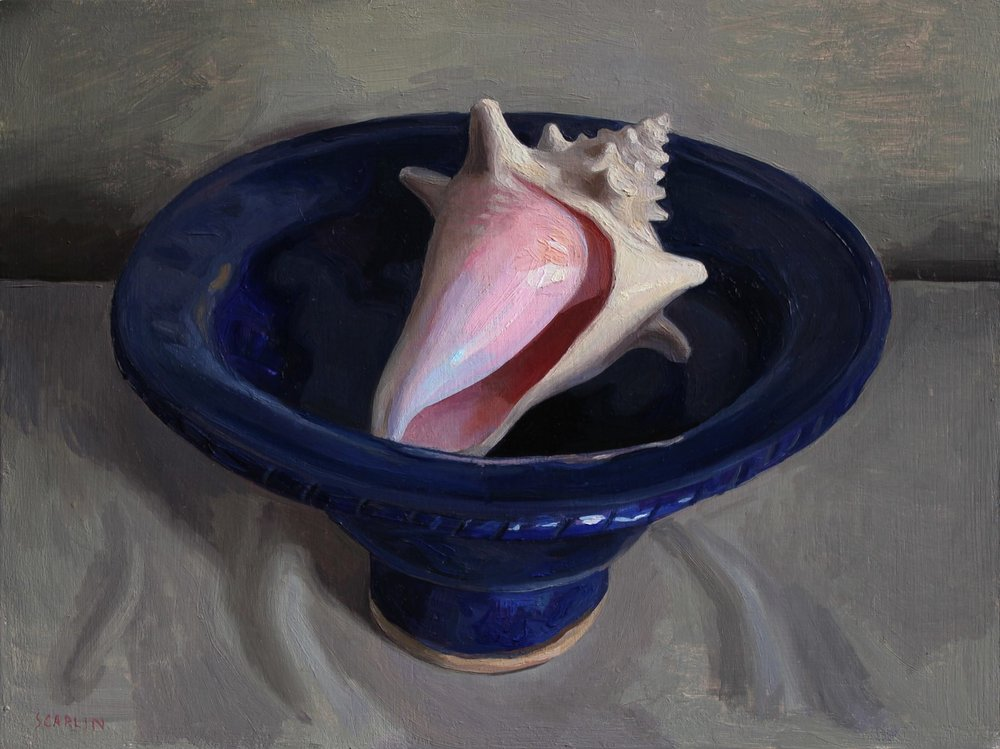 Conch Shell in a Blue Bowl