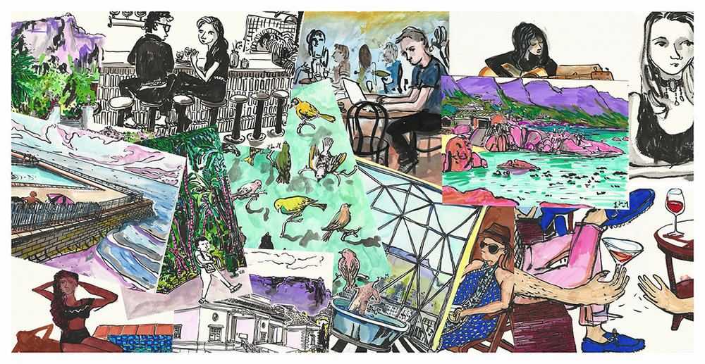 For the first time in her career, Lucie de Moyencourt will be exhibiting her sketches from her travelling notebooks.
