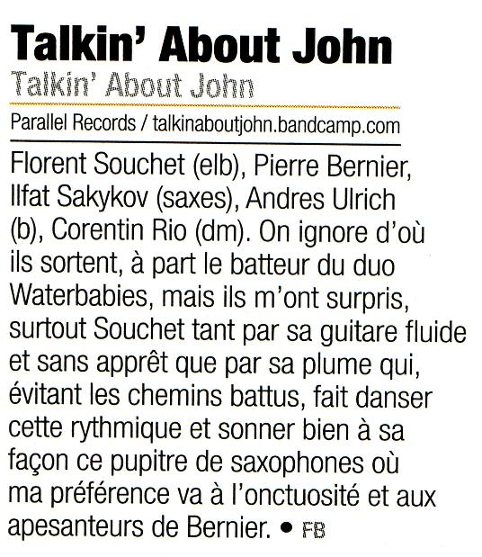 Talkin' About John dans l'édition de juillet de Jazz Mag  17 juillet 2015