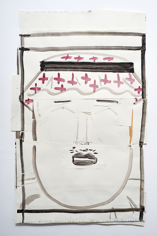 Dissembling Arab 2013 Watercolour, Pencil and Collage on Paper 99 x 64 cm Rose Wylie_LR.jpg