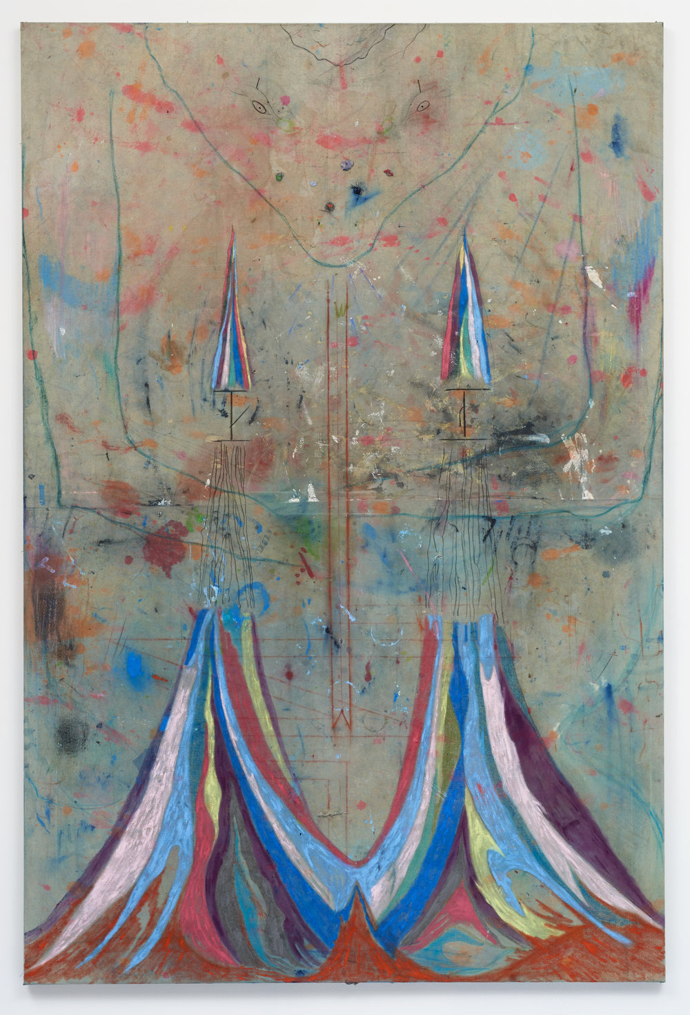 Ross Taylor, Between the spoons and the drains, 2018, Oil paint, and pastel on linen, 180 x 120 cm