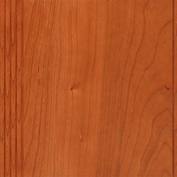 Cherry  Closed grain hardwood known for its smooth texture and beautiful grain. Color ranges from pinkish to white with occasional pin knows and pitch pockets. Care is taken to minimize color variation, especially in natural and light colors. Will mellow and darken with age. See Cherry Stains.