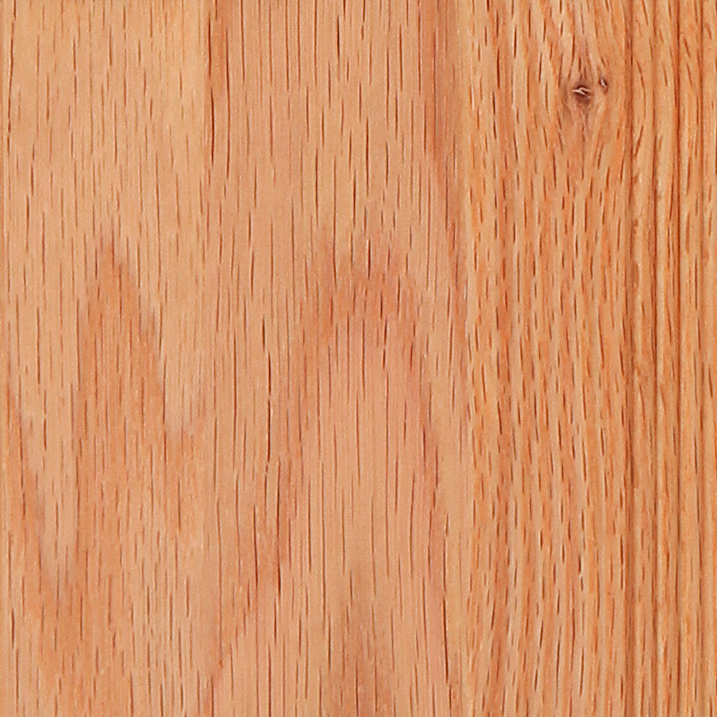 Oak  An open-grain hardwood with a relatively straight grain pattern. Color varies from a pale yellow-brown to pale brown. Occasional and small, open knots are acceptable. Care is taken to avoid color variation within panels. See Oak Stains.