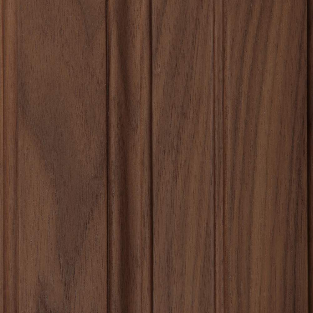 Walnut  A domestic hardwood with a smooth grain. Coloration is black to gray with some light sapwood. See Walnut Stains.