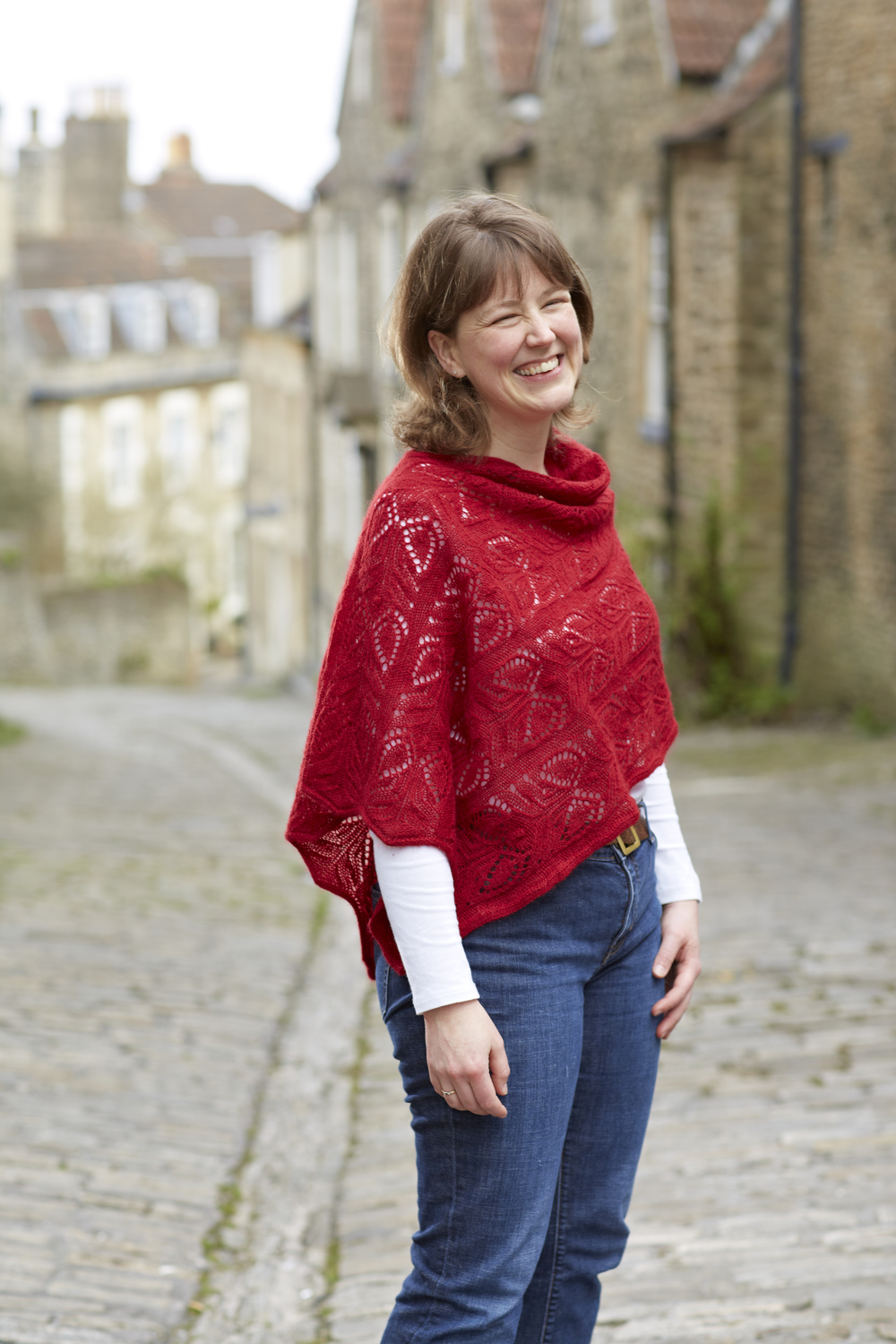 Jen, wearing her favourite design to date, her Redlynch shawl
