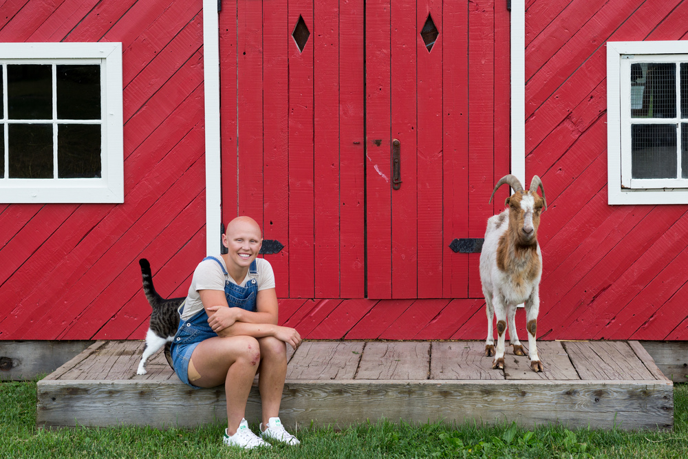 Olivia and Millie in front of the goat house at South Pond (Mark Ridout Photography)