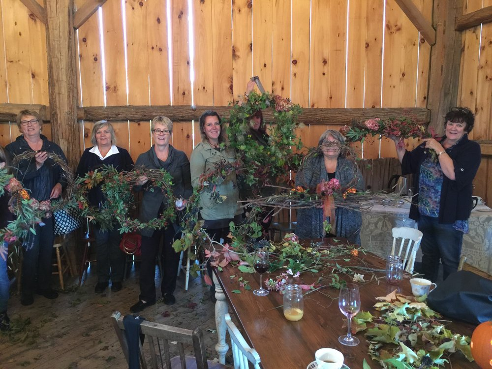 Fall holiday wreath making at the farm