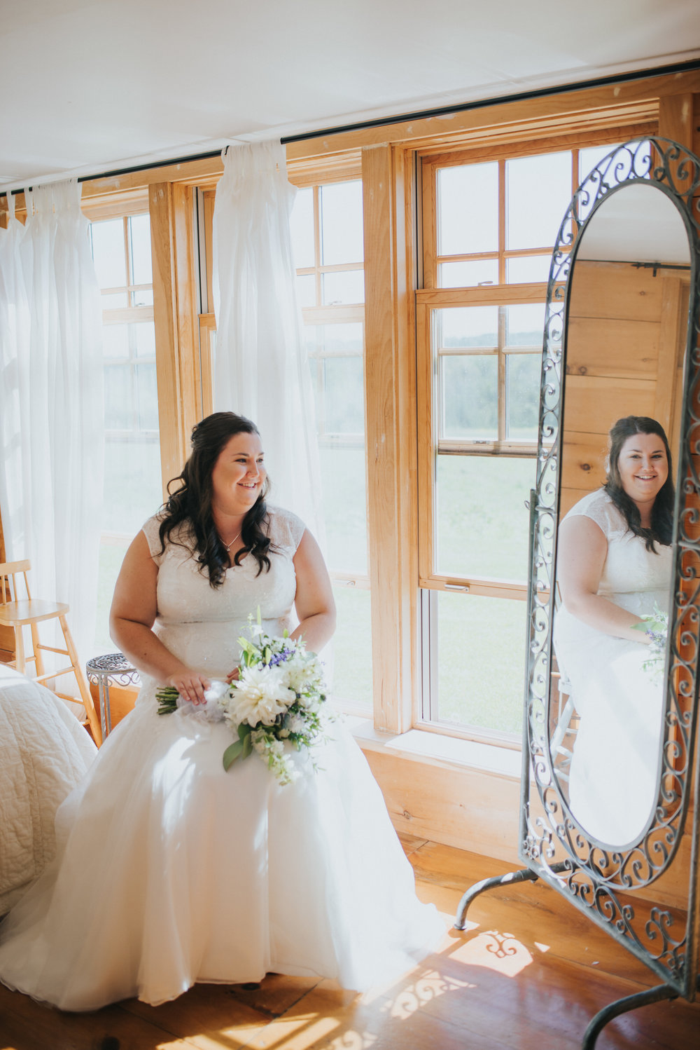 Melissa Cordick relaxing in South Pond's Cottage before heading down the aisle.