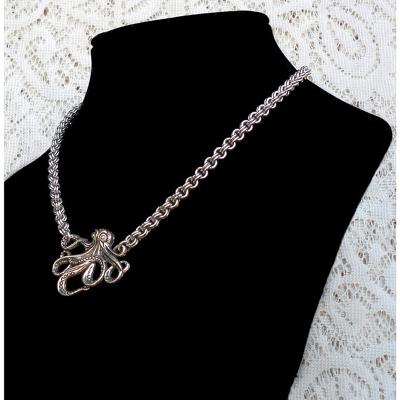 Fine Double Cable Chainmaille Necklace with Octopus Pendant