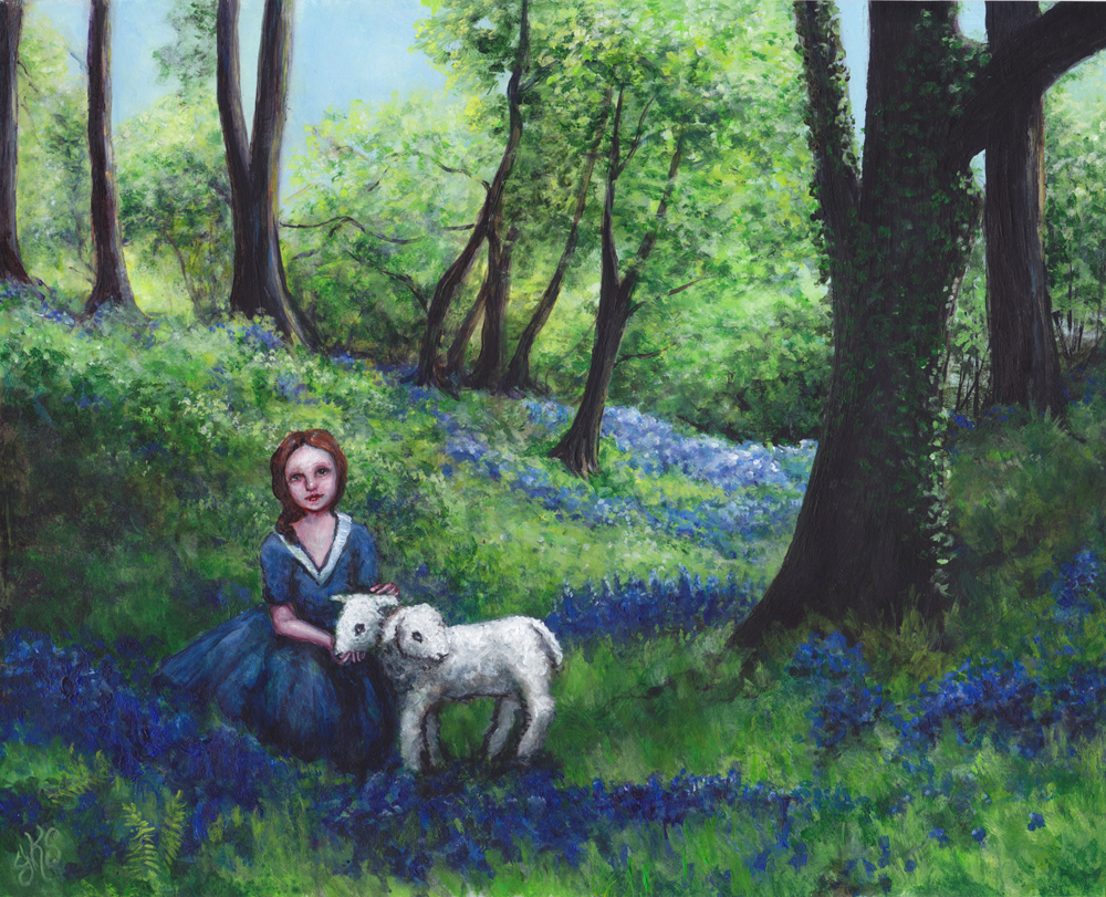 Lady of the Lamb    Acrylic on Paper    8 by 10 inches ©Julie Schuler