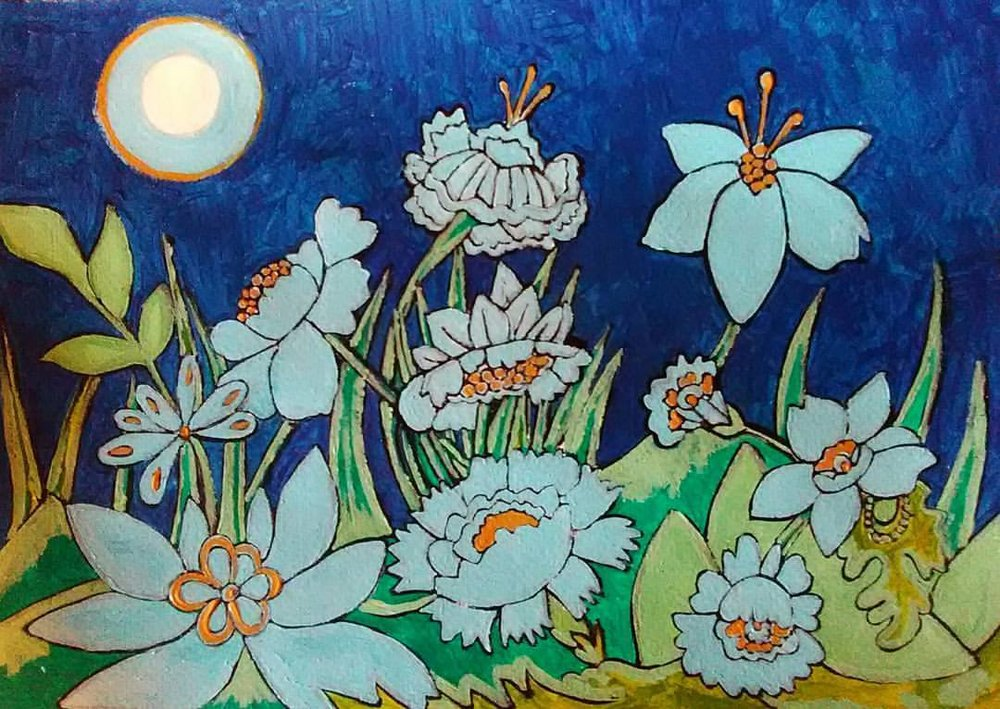 Flowers in Moonlight