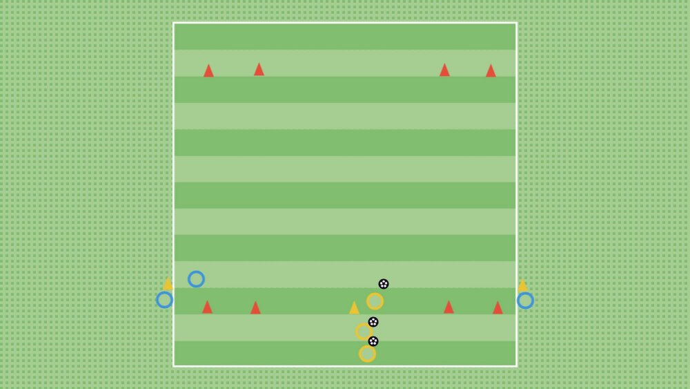 WHOLE - Problem: Score in one of the two gates with a recovering defender released on your first touch.