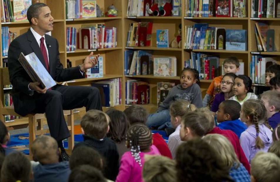 Obama Reads Children Soraya Coffelt