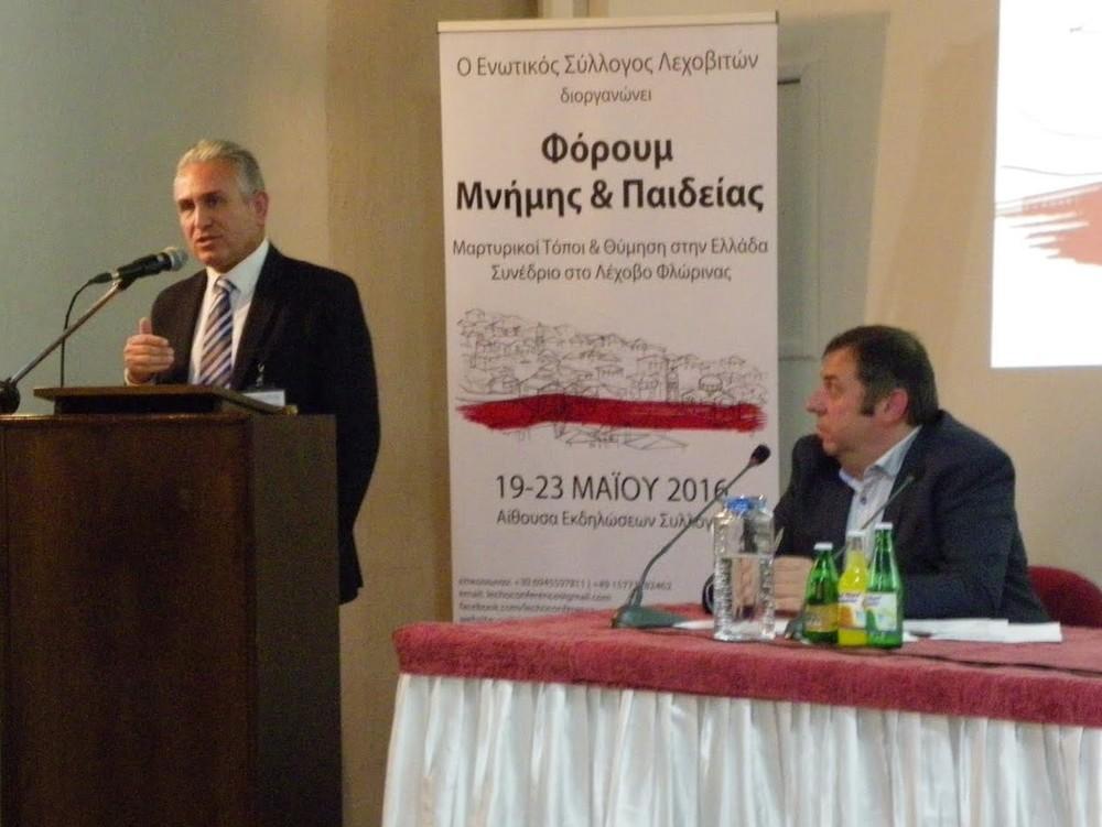 Georgios Lazouras, Bürgermeister von Kalavryta und Vorsitzender des Netzwerks griechischer Märtyrergemeinden