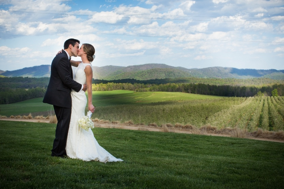bride and groom kiss scenic mountains