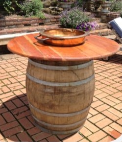 Wine Barrel Table with Copper Bowl