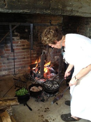 Hearth Cooking In The Original Brick Kitchen