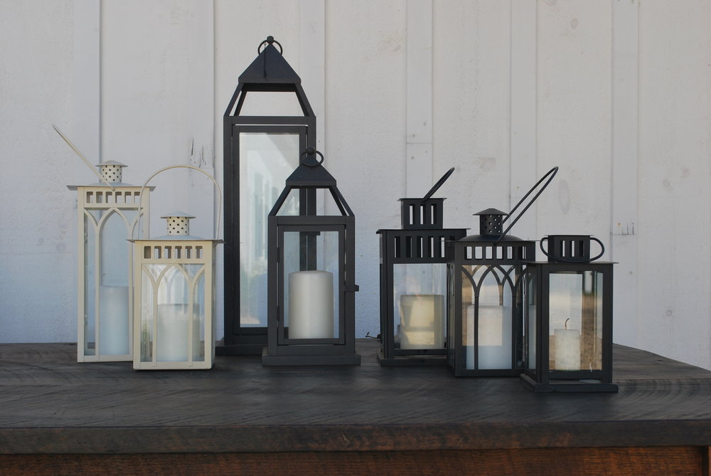 Assorted Lanterns $15 each with candle 20 Available Assorted Metal Black or White