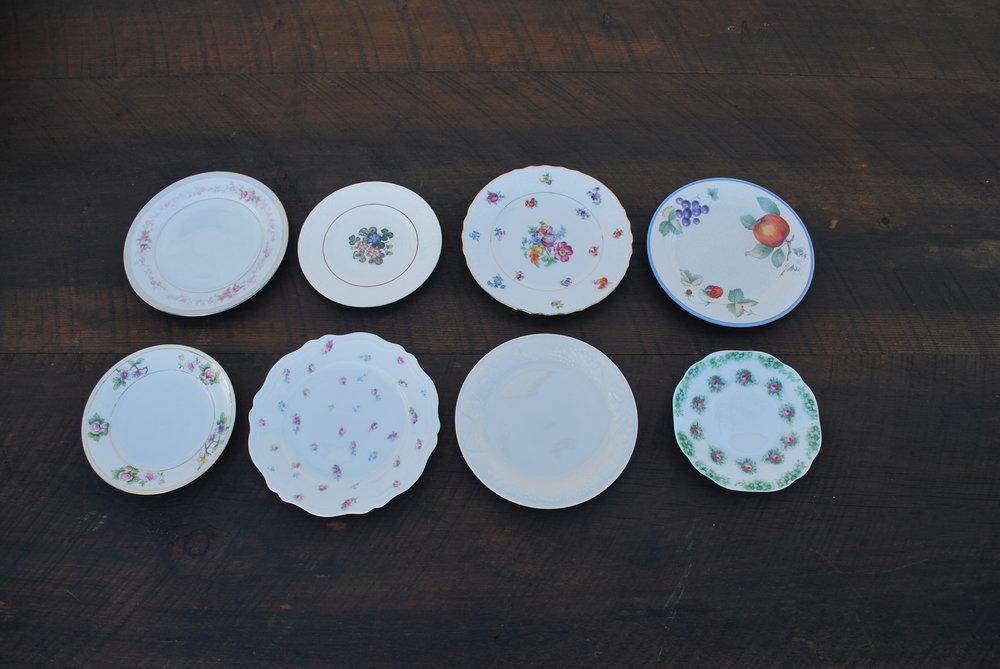 Assorted Vintage Salad and Dessert Plates $2 each, 150 dessert plates, 150 salad plates