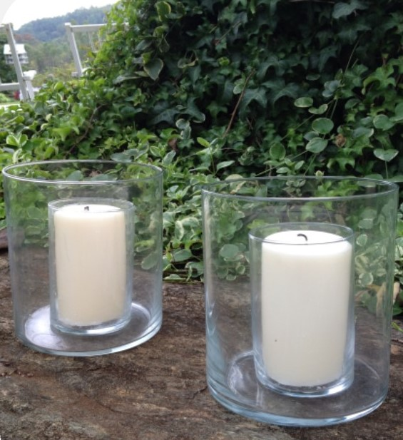 Glass Candle Holder with Candle $12 each, Two available