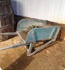 Antique Blue Wheel Barrow $15