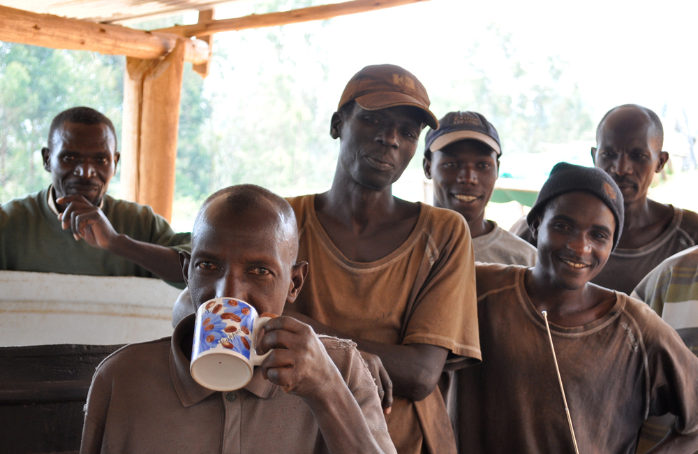 Coffee producers in Burundi tasting their coffee for the first time