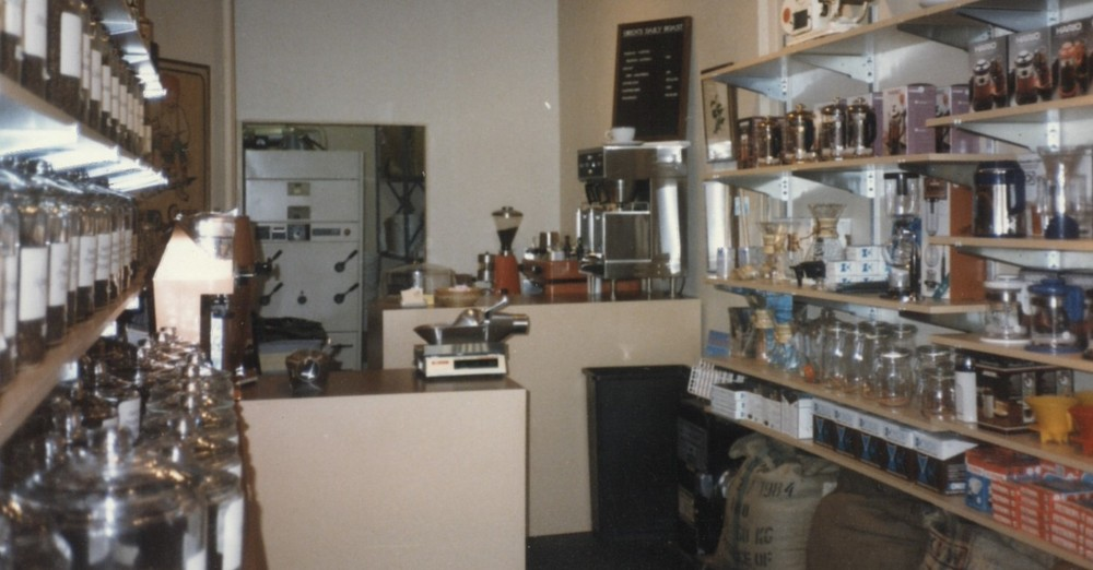 The original Oren's Roast cafe, shop and roastery on 1st Ave, back in 1986