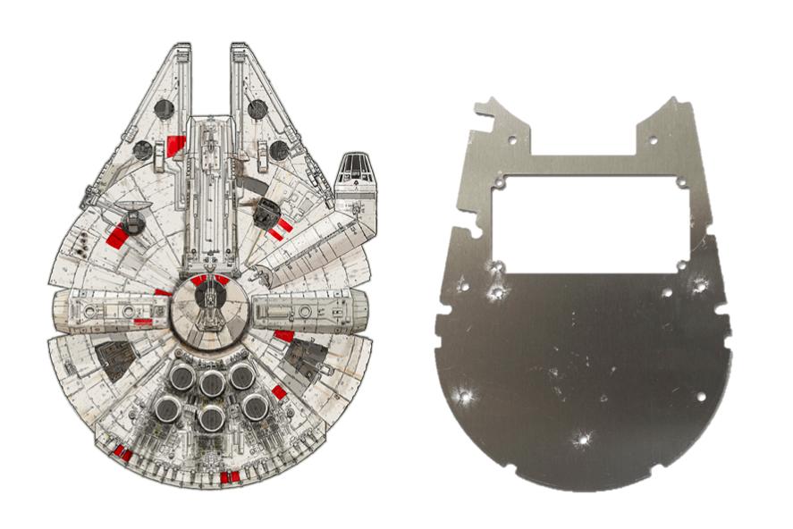 Star Wars' Millennium Falcon and IKAWA's Millennium Falcon board.