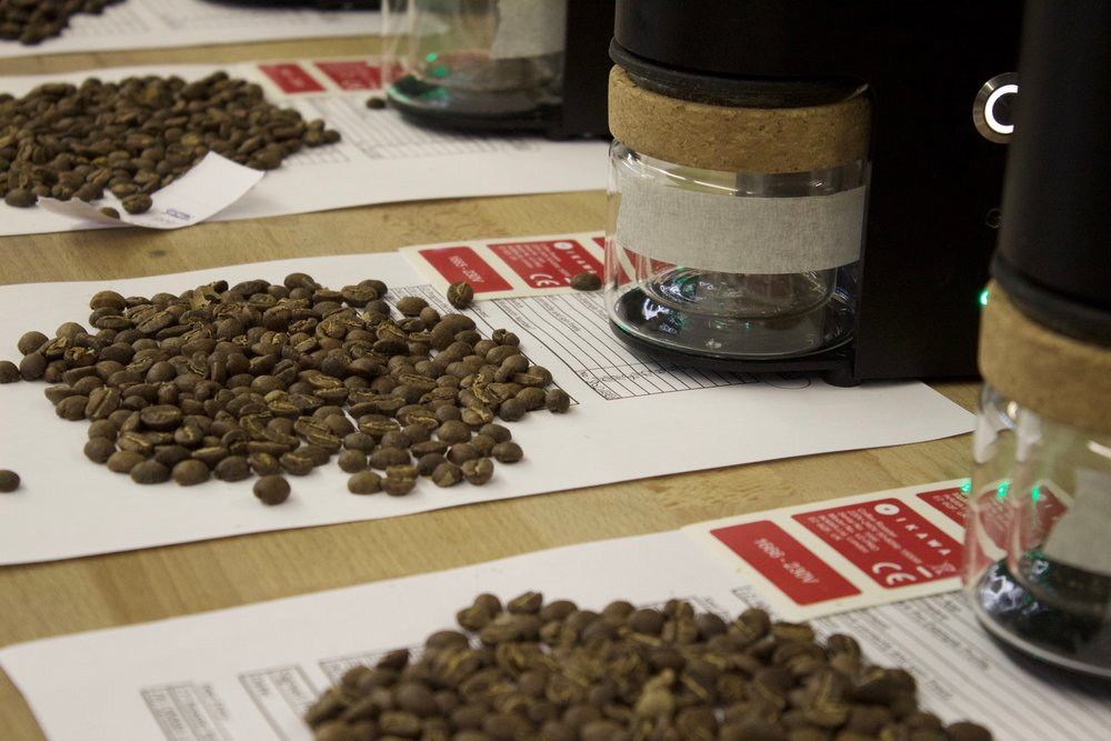 Testing process with repeat roasts being measured.