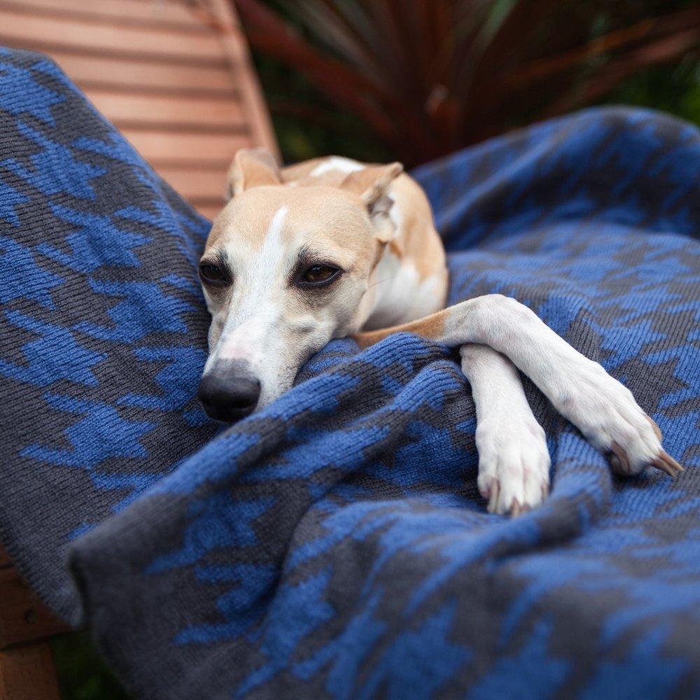 Houndstooth Blanket - Denim and Anthracite - £35.00