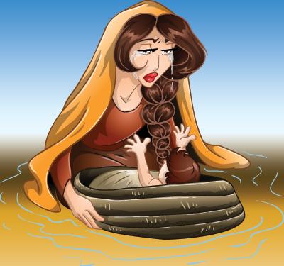 Jocabed pone al bebé Moisés en el Río Nilo