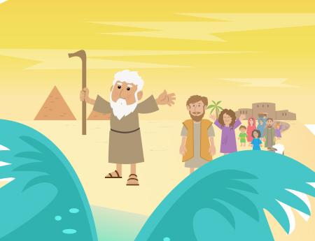 Moisés y los Israelitas cruzan el Mar Rojo
