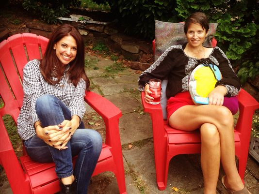 A photo of the two friends in Olivia's cheery backyard, taken this fall.  (Photo: Andrea Mandell)