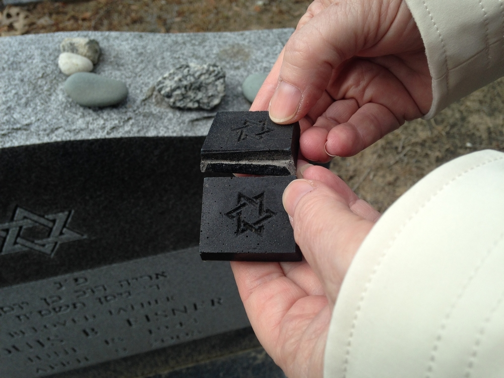 MitzvahStones™ are designed to easily snap apart, offering the visitor the opportunity to leave a stone and keep part of that same stone as a remembrance touchstone.