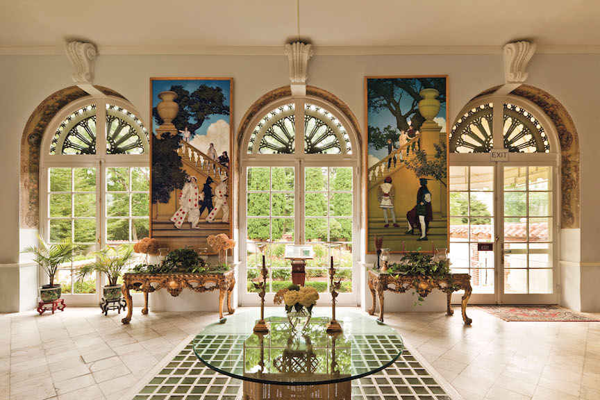The Rose Loggia of the NMAI, in which six of the 18  Florentine Fete  panels by Mayfield Parrish are hung.   © 2016 National Museum of American Illustration, Newport, RI.  www.AmericanIllustration.org .
