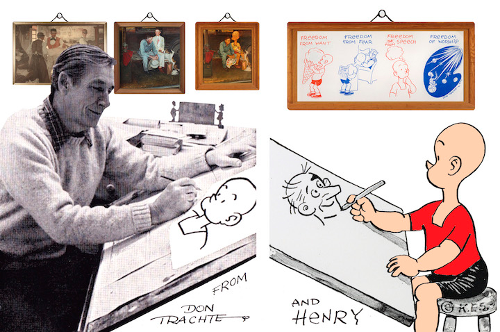 Don Trachte sketches opposite comic strip character Henry. Tract took over the Sunday strip in 1946 and continued to draw  Henry  until 1993.  © 2016 National Museum of American Illustration, Newport, RI.  www.AmericanIllustration.org .