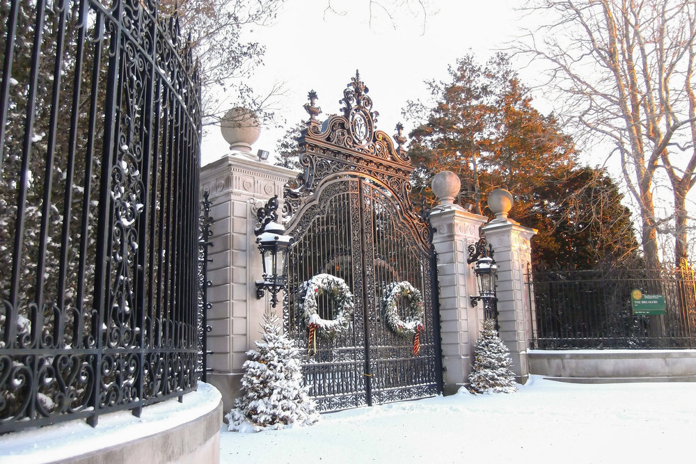 The Breakers entrance after snowfall