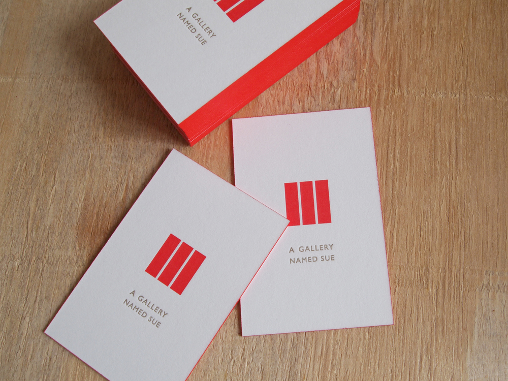 Letter-pressed business cards with orange edges (printed by  Martijn Otto Wolf )