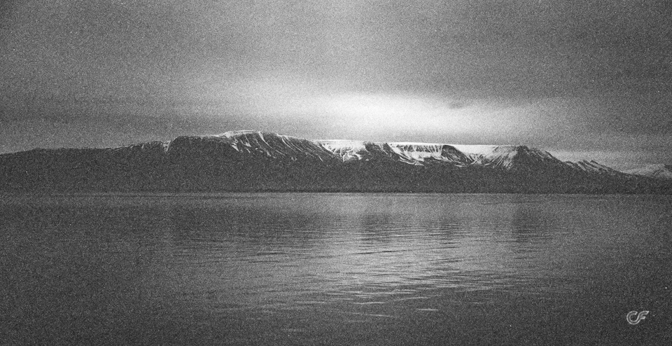 Mountain range of Esja, visible from Reykjavík, Iceland. Shot on Kodak Tri-X with my Yashica Electro35 GT