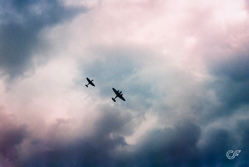 Film photograph from an air show at Duxford Air Museum