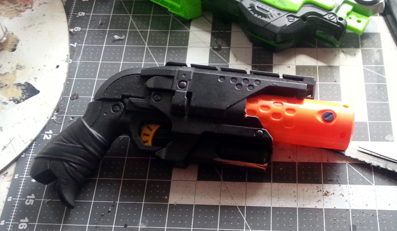 Hammershot with new barrel and trigger glued in place.