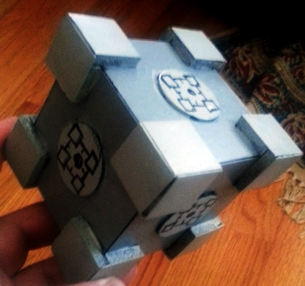 While Q was painting his cube I decided I should paint one of my own. Facebook said I should put companion cubes on each side - Behold, the HyperCube.