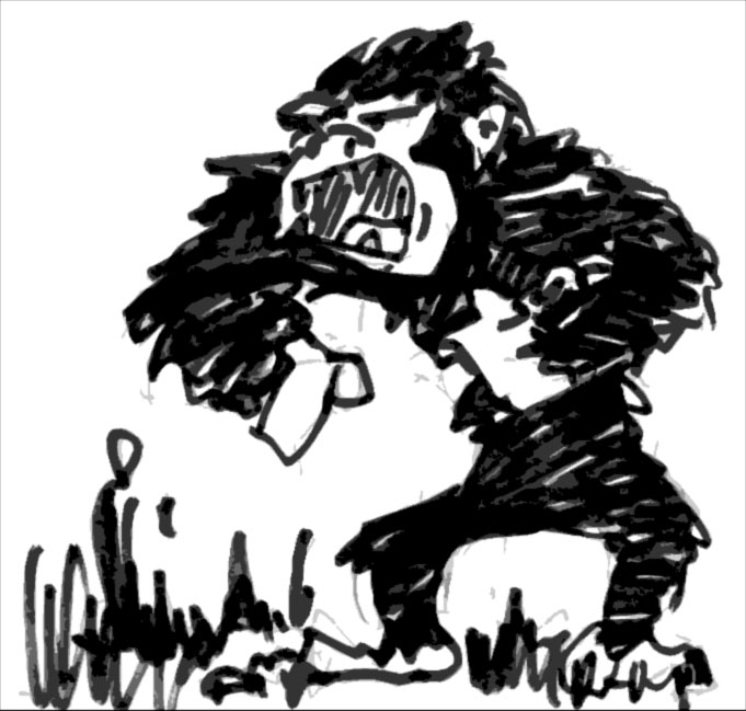 """The carnivorous ape is a larger, stronger and very aggressive relative of the gorilla...It hunger particularly for human flesh.""  AD&D Monster Manual"