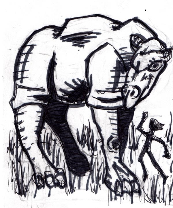 """This creature is a prehistoric anscestor of the rhinioceros.  It is a huge hervivorous mammal with a tendency to charge anything nearby in order to trample it."" -AD&D Monster Manual"