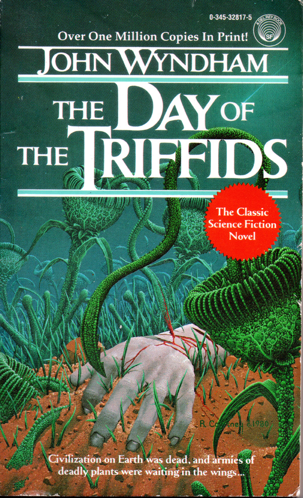 'Day of the Triffids' by John Wyndham  Cover art by R. Courtney  Copyright Del Rey 1986